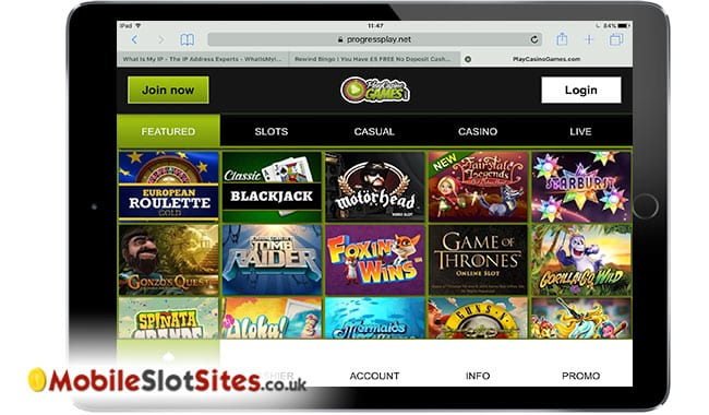 play casino games mobile