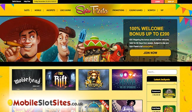 spin fiesta homepage