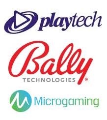 Playtech, Bally and Microgaming Logos